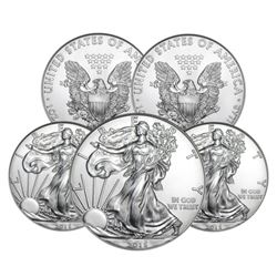 (5) RANDOM DATE  US Silver Eagles - Uncirculated