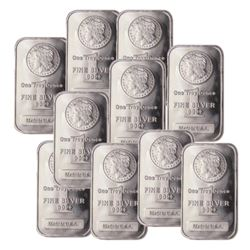 (10) 1 oz Silver Morgan Design Bars