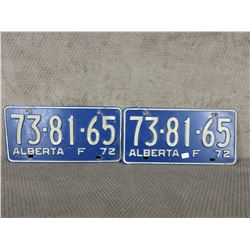 Set of 2 1973 Alberta Farm License Plates