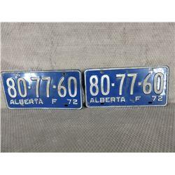 Set of 1972 Alberta Farm License Plate