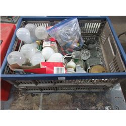 Tote of Various Electrical Items and Light Bulbs