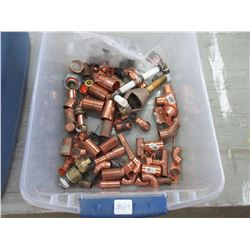 Tote of Various Copper Fittings