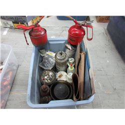 Tote of Various Lubes, Oil Cans & Other Items