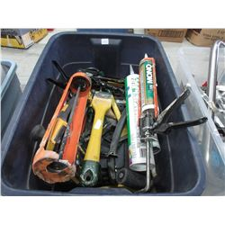 Tote of Caulking Guns, Paint Scrapers & Other Items