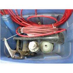 Tote with Air Hose, Grease Guns & Other Items