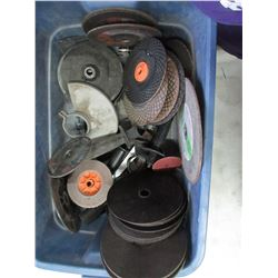 Tote with Grinding Wheels and Grinder Parts
