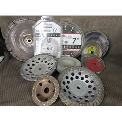 Lot of Various Concrete Grinding and Cutting Wheels