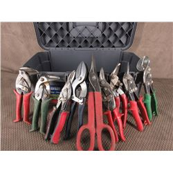 8 Different Types of Tin Snips, 1 Crimping Tool & Tool Box