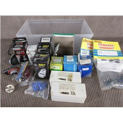 Box of Headlight Bulbs and Other Automotive Parts