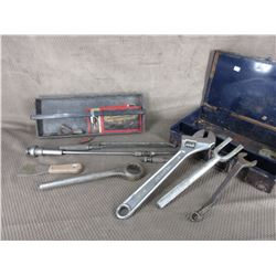Metal Box, Cresent Wrench Pickle Wrench & Other Items