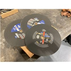 "Lot of (3) 12"" x 7/64"" x 1"" Cutting Wheels"