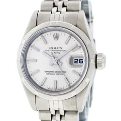 Rolex Ladies Stainless Steel Silver Index 26MM Oyster Perpetual Datejust Wristwa