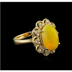 3.65 ctw Opal and Diamond Ring - 14KT Yellow Gold