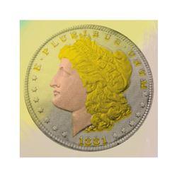 "Steve Kaufman (1960-2010), ""1881 Morgan Dollar"" Hand Painted Limited Edition Sil"