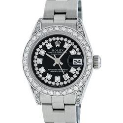 Rolex Ladies Stainless Steel Black Diamond Lugs Oyster Quickset Datejust Wristwa