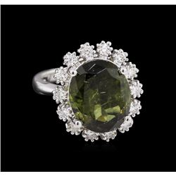 6.15 ctw Green Tourmaline and Diamond Ring - 14KT White Gold