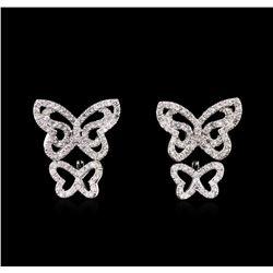 0.88 ctw Diamond Earrings - 14KT White Gold