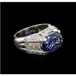 6.48 ctw Tanzanite and Diamond Ring - 14KT White Gold