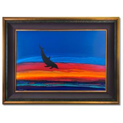 """Wyland, """"Dolphin Rising"""" Hand Signed Original Painting on Board with Certificate"""