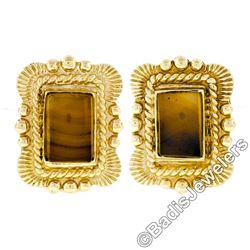 Scott Gauthier 18kt Yellow Gold Rectangular Banded Agate Earrings