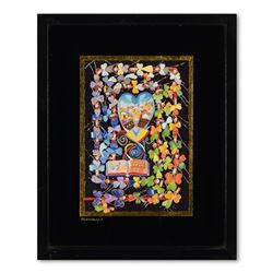 "Raphael Abecassis, ""Psalms of David"" Framed Original 6-Layer Decoupage, Hand Sig"