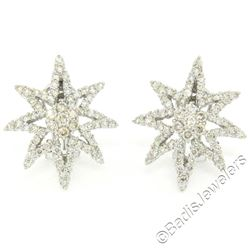 18kt White Gold 3.35 ctw Diamond Star Burst Cluster Earrings