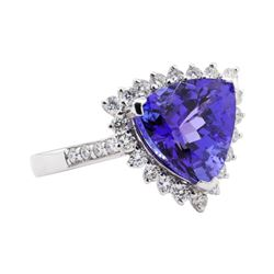 5.92 ctw Tanzanite and Diamond Ring - Platinum
