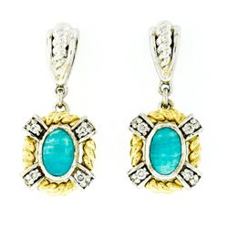 14kt Two Tone Gold Oval Amazonite & 0.16 ctw Diamond Drop Dangle Earrings