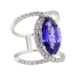 5.24 ctw Tanzanite and Diamond Ring - 18KT White Gold