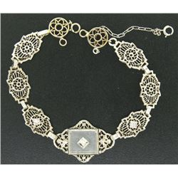 Antique Art Deco 14kt White Gold Camphor Glass and Damond Bracelet