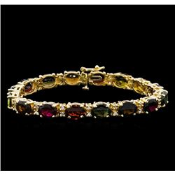 25.05 ctw Tourmaline and Diamond Bracelet - 14KT Yellow Gold