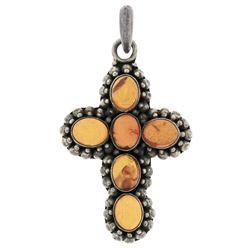 Sterling Silver Oval Cabochon Bezel Amber Cross Pendant & Bead Work Halo