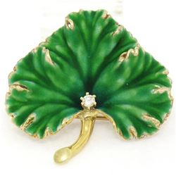 Unique Omega Vintage 14K Yellow Gold Green Enamel & Diamond Detailed Leaf Brooch