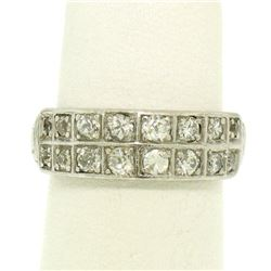 Platinum .65 ctw European & Single Cut Diamond Double Band Ring