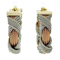 Estate 18kt Rose & White Gold 30mm Braided Mesh Hoop Earrings
