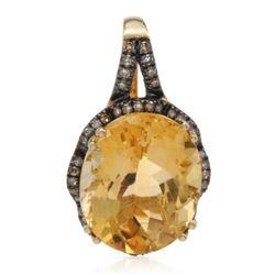 14k Yellow Gold  5.07CTW Citrine and Brown Diamonds Pendant