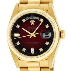 Rolex Mens 18K Yellow Gold Red Vignette Diamond Quickset President Wristwatch Wi