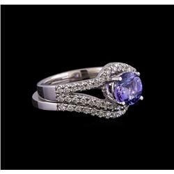 1.27 ctw Tanzanite and Diamond Ring Set - 14KT White Gold