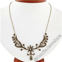 Victorian 14kt Yellow Gold Seed Pearl Floral Dangle Collier Necklace