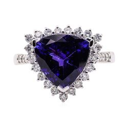 5.16 ctw Tanzanite and Diamond Ring - Platinum