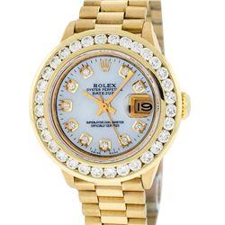 Rolex Ladies 18K Yellow Gold Presidential MOP 2.15 ctw Diamond Wristwatch With R
