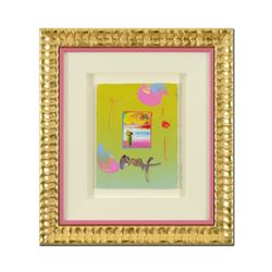 """Peter Max, """"Better World"""" Framed One-Of-A-Kind Acrylic Mixed Media, Hand Signed"""