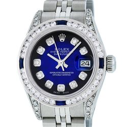 Rolex Ladies Stainless Steel Blue Vignette Diamond Lugs & Sapphire Datejust Wris