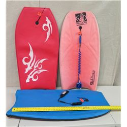 "Qty 3 Boogie Boards: Body Glove, Rush 425 & Other 40"" Long"