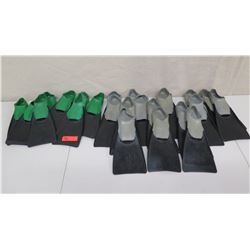 Qty 15 Gray & 8 Green Sea Sport Swim Fins