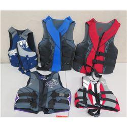 Qty 5 Life Vests: Body Glove, Stearns Hydroprene, Full Throttle, etc