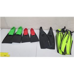 Qty 8 Swim Fins: 6 Floating & 2 Aqualung Dive Fins