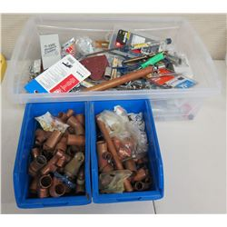 Qty 3 Bins Hardware: Tools, Fittings, Elbows, Bolts, Heat Shrink, etc