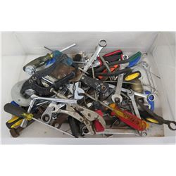 Bin of Tools: Wrenches, Ratches, Screwdrivers, etc