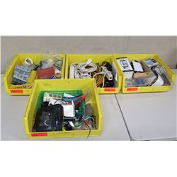 Qty 4 Bins Supplies: Surge Protectors, Cords, Filters, Tools, Tape, etc